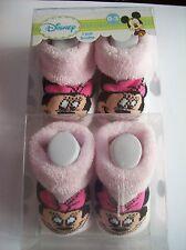 Minnie Mouse Crib Shoes/Booties/Socks 2 Pair Sz 0-3 Mos Pink White Disney NIB
