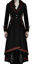 "Women""s Steampunk Military Coat Jacket Long Black Red Gothic Uniform"