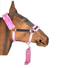 PINK HORSE DIAMONTE HEAD COLLAR & LEAD ROPE SET COB FULL PONY SMALL PONY
