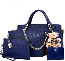 Women 4 Set Handbags Pu Leather Fashion Designer Handbag Shoulder Bag Black