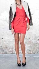 KORALLINE Mini abito vestito donna scollo V incrociato FRAGOLA maniche lunghe