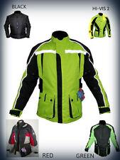 Hombre Moto Chaqueta negra textil protectora impermeable de motocicleta cordura