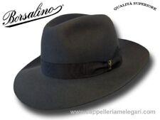 Cappello Borsalino Fedora Qualità Superiore ala 7,5 cm  grigio antracite