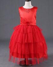 Natalie Red Flower Girl Dress Birthday Gift Bridesmaid Christmas Wedding
