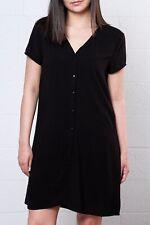NEW JACQUELINE DE YONG BLACK BUTTON UP FRONT TEA DRESS CHIC CASUAL LOOK UK 8 10