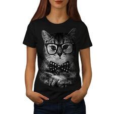 Hipster Cat Man Fun Women T-shirt S-2XL NEW | Wellcoda