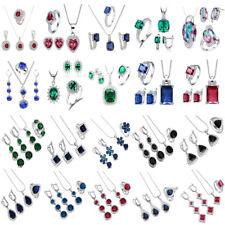 Classic Women Jewelry Set 925 Silver Pendant Necklace Stud Hoop Earrings Ring