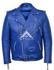 BRANDO BLUE' Men's Classic Motorcycle Biker Cowhide Real Leather Jacket