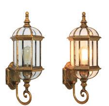 Vintage Metal Lantern Glass Outdoor Waterproof Wall Lights Sconce in Black/Brass