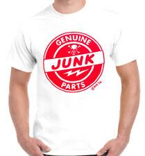 Men's t-shirt genuine junk parts white cotton hot rod drag race motorcycle biker