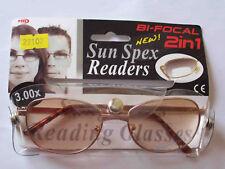 NUOVO IMBALLATO 2in1 BIFOCAL Occhiali Da Sole Da Lettura +3.00 D (B)