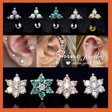 Opal Gem Lab Diamond Tragus Helix Cartilage Ear Piercing Ring Bar Stud Earrings