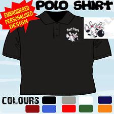 Personalizado Bordado diez pistas de bolos Diseño logotipo Club Jugador T camisa Polo
