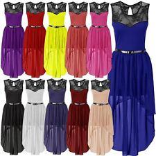 New Ladies Plus Size Asymmetric Hem Mesh Lace Chiffon Belted Dip hem Dress 8-26