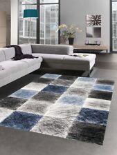 Tapis moderne tapis de salon karo bleu gris noir
