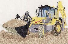 Fermec digger counted cross stitch kit/chart 14s aida