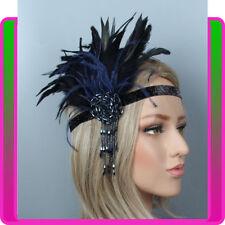 Grey Gold Silver Feather Headpiece 1920s Headband Flapper Great Gatsby Vtg 1829
