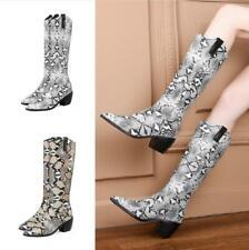 Women's Mid Calf Boots Chunky Heels Pointy Toe Snakeskin Print Biker Boots 34-46