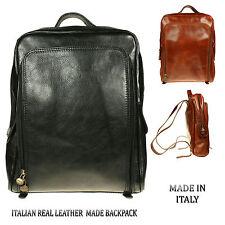 Mujer Unisex Grande Negro Marrón Mochila Piel Italiana Hecho en Italia bp006
