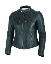 Ladies Fashion Black soft Real leather jacket Style Rose