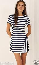 Nautical Striped Wrap Skirt A-Line Dress M L 10 12 14 Shine Party Club Cute Sexy