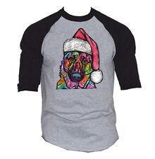 Men's Christmas Dog Gray Baseball Raglan T Shirt Santa Claus Holiday Love Tee