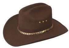 Mens Brown Rodeo Bullrider Brim Cowboy Hat Western Faux Felt Gold Band Cattleman