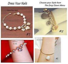 Charm Bracelet Bangle Heart Crystal Pearl chain Costume Jewellery Bling -Wedding