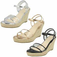 Ladies Savannah Synthetic Ankle Strap Rope Wedges