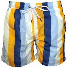 Guess Zesty Multi-Stripe Print Men's Swim Shorts, Yellow/White/Blue