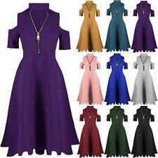 Womens Ladies Choker V Neck Zip Up Cold Shoulder Keyhole Cut Swing Skater Dress