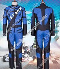 Iron Man Cosplay Tony Stark Costume Men Racing Uniform Suit Blue Jumpsuit Outfit
