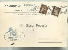 CARTOLINA COMUNE DI LIPOMO PROVINCIA DI COMO IL PODESTA' SPEDITA NEL 1935
