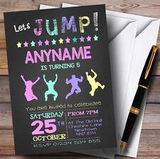 Tiza Pastel Niñas Trampolín Para Niños Invitaciones Fiesta De Cumpleaños
