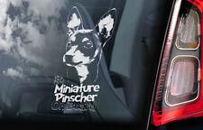 Miniature Pinscher on Board - Car Window Sticker - German Dog Sign Decal - V03