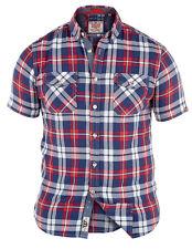 *NUEVO* CABALLEROS tamaño grande Duque D555 rojo / Azul Marino Camisa de cuadros