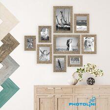 Bilderrahmen-Set Strandhaus Holz Rustikal Eiche Braun Weiss Grau Foto-Rahmen