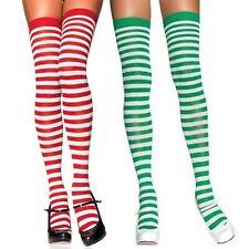 Christmas Red or Green and White Stripe Thigh High Stockings Xmas Elf Leg Avenue
