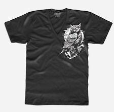Herren V-Neck T-Shirt Die Eule Art Vintage Owl Uhu Tattoo Neu S-XXL OWL3517VN