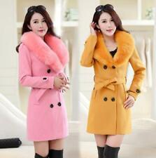 Korean Womens Woolen Coat Winter Fur Collar Double Breasted Long Jacket Sz M-5XL
