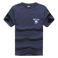 Men T Shirt Hawaii Print Hang loose Crew Neck Black Blue White Red Navy Cotton