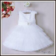 Paillettes Sequin Doublé Mariage Demoiselle d'honneur blanc fleur fille robe enfants Fête UK