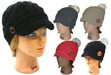 Ladies Winter Knit Cap Beanie Women Ski Knit Beanie Visor Cap Hat with Button