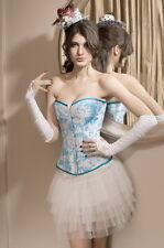 Sexy Femmes Blue & White Floral Mesdames Overbust Corset Sous-vêtements Lingerie