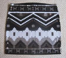 NWT EXPRESS BLACK SILVER SEQUIN AZTEC TRIBAL GEOMETRIC PRINT HI WAIST MINI SKIRT