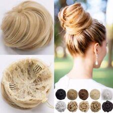 Top 100% Real Natural Clip on in Messy Hair Bun Extension Chignon Hair Piece ADE