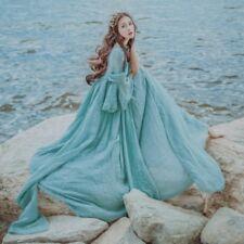 Lolita Dress Full Length Linen Tribal Vintage Fairy Princess Beach Elegant Blue