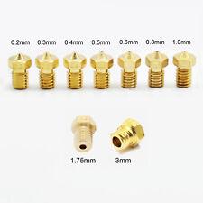 0.2/0.3/0.4/0.5/0.6/0.8/1mm Brass J-Head Nozzle For 1.75mm 3mm 3D Printer V5&V6