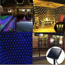 Solar Powered Net Mesh 100/204 LED String Fairy Light Xmas Wedding Party Decor