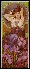 Mucha Amethyst Flower Fashion Dress Lady Vintage Poster Repro FREE SHIPPING